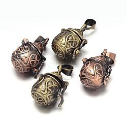 Pot sculpté boîte crémaillère placage de laiton de prière pendentifs, boîte souhaiter, sans nickel  , couleur mixte, 21x12x15mm, Trou: 5x3mm(KK-L101-17-NF)