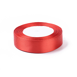 "Ruban de satin à face unique, Ruban de polyester, rouge, 1"" (25 mm) de large, 25yards / roll (22.86m / roll), 5 rouleaux / groupe, 125yards / groupe (114.3m / groupe)(RC25mmY026)"