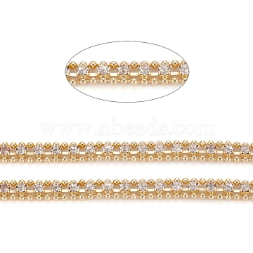 Brass Rhinestone Strass Chains, Rhinestone Cup Chains and Ball Chains, with Spool, Soldered, Long-Lasting Plated, Golden, 5.5x2mm, about 32.8 Feet(10m)/roll(CHC-D026-11G)