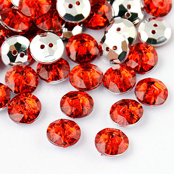 2-Hole Taiwan Acrylic Rhinestone Flat Round Buttons, Faceted & Silver Plated Pointed Back, Red, 27x10mm, Hole: 1mm(X-BUTT-F015-27mm-32)