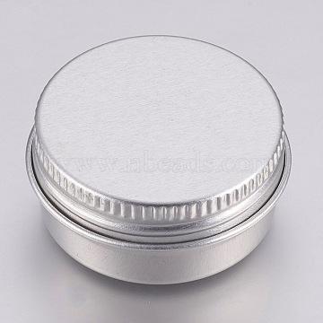 Round Aluminium Tin Cans, Aluminium Jar, Storage Containers for Cosmetic, Candles, Candies, with Screw Top Lid, Platinum, 3.55x1.8cm; Capacity: 10ml(0.34 fl. oz)(X-CON-L007-05C)