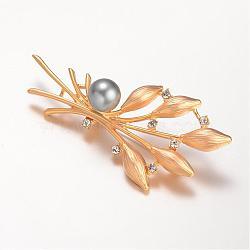 сплав горный хрусталь брошь, оливковая ветвь, с акриловыми шариками, золотой, 75x36 mm, контактный: 0.8 mm(JEWB-K003-11G)