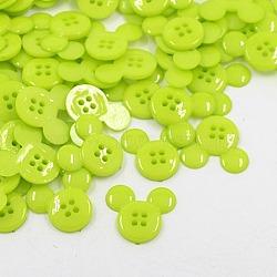Boutons en plastique acrylique, boutons de couture, 4-trou, teint, tête de souris, 'Chartreuse , 22x20x3mm, Trou: 1mm(X-BUTT-E062-05)
