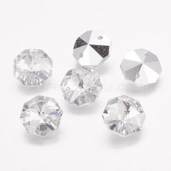Pendentifs en verre, cristal d'imitation, octogone, facette, clair, 14x14x7mm, Trou: 1.5mm(X-G06E5011)