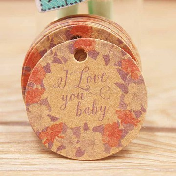 Paper Gift Tags, Hange Tags, For Arts and Crafts, Thanksgiving, Round with Flower and Word I Love You Baby, BurlyWood, 30x0.4mm, Hole: 3mm(CDIS-P001-G02-B)