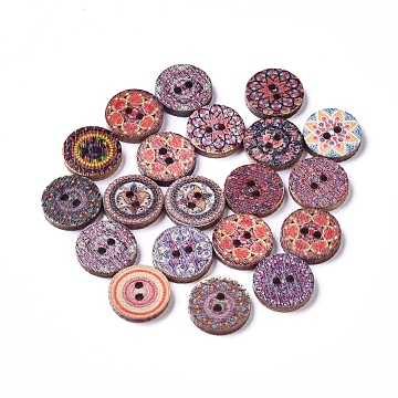 Printed Poplar Wood Buttons, 2-Hole, Dyed, Flat Round with Flower Pattern, Mixed Color, 15x2mm, Hole: 1.8mm(WOOD-D021-01A)