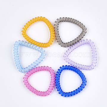 Plastic Telephone Cord Elastic Hair Ties, Ponytail Holder, Triangle, Mixed Color, 43~45x43~49x6~7mm(OHAR-T006-46)