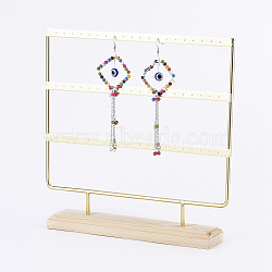 Iron 3-Tier Earring Display Stand, for Hanging Dangle Earring, with Wood Pedestal, Golden, 25.4x25.2x5.1cm(EDIS-E025-03)
