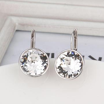 Real Platinum Plated Tin Alloy Cubic Zirconia Leverback Earrings, Clear, 22x13mm(EJEW-BB09658-P)