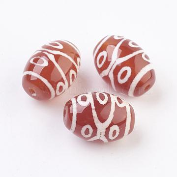 14mm OrangeRed Barrel Tibetan Agate Beads