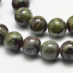 "Chapelets de perles de sang de dragon naturel, rond, 6mm, trou: 1.2 mm; 61 perle / Chapelet, 15.5""(G-N0224-01-6mm)"