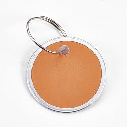 pendentifs en aluminium, avec fermoirs porte-clés en papier et en fer, plat rond, platine, Sandybrown, 31x1 mm; anneau: 19x1 mm, trou: 17 mm(FIND-WH0025-05)