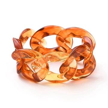 Acrylic Curb Chains Finger Rings, Sienna, Inner Diameter: 17mm(RJEW-JR00311-05)