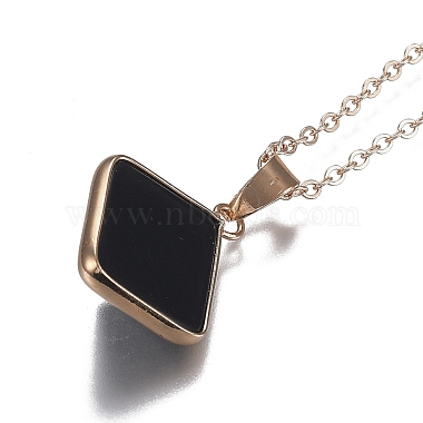 Natural Obsidian Pyramid Geometric Pendant Necklaces(NJEW-H204-01H)-4