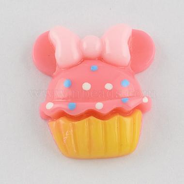 Scrapbook Embellishments Flatback Cute Cupcake with Bows Plastic Resin Cabochons(X-CRES-Q155-M)-2