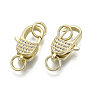 Real 16K Gold Plated Clear Others Brass+Cubic Zirconia Lobster Claw Clasps(ZIRC-N039-001-NF)