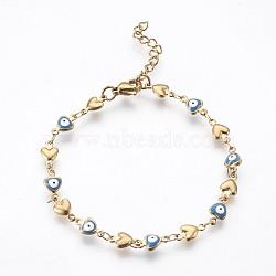 """Bracelets avec chaîne de lien en 304 acier inoxydable, avec l'émail et le homard fermoirs pince, coeur avec le mauvais œil, bleu, 7-1/4"""" (18.5 cm)(BJEW-P236-30G-06)"""