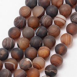 Natural Striped Agate/Banded Agate Bead Strands, Round, Grade A, Frosted, Dyed & Heated, CoconutBrown, 8mm, Hole: 1mm; about 47pcs/strand, 15inches