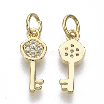 Brass Micro Pave Cubic Zirconia Charms, with Jump Rings, Nickel Free, Key, Clear, Real 16K Gold Plated, 14x5.5x1.5mm, Hole: 3mm(X-ZIRC-S067-025-NF)