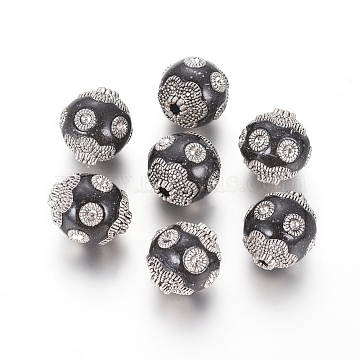 Handmade Indonesia Beads, with Polymer Clay and Antique Silver Plated Alloy Findings, Round, Black, 15~16x14~15mm, Hole: 2.5mm(IPDL-L004-B04)