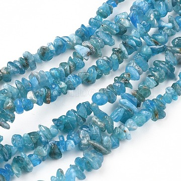 Natural Apatite Beads Strands, Chip, Deep Sky Blue, 3~10x2.5~5mm, Hole: 0.5mm, 35 inches(89cm)(X-G-F666-01A-02)