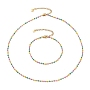 304 Stainless Steel Enamel Link Chain Bracelets & Necklaces Jewelry Sets, with  304 Stainless Steel Lobster Claw Clasps and Chain Extender, Golden, Colorful, 7-1/8 inches(19cm), 17.32 inches(44cm)