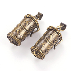 Pendentifs de boîte de prière, colonne, bronze antique brossé, 27x13.5x11mm, trou: 4x6 mm; intérieure: 8 mm(KK-E737-44AB)