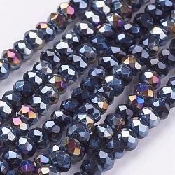 perles en verre plaquent brins, ab couleur plaquée, facettes, plat rond, noir, 3.5~4x2.5~3 mm; trou: 0.5 mm; sur 140 pcs / brin, 15.5(X-EGLA-R048-3mm-02)