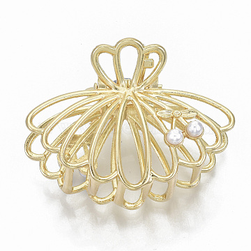 Alloy Claw Hair Clips, with ABS Plastic Imitation Pearl, Long-Lasting Plated, Shell with Cherry Shape, Light Gold, White, 36x50x28mm(X-PHAR-N004-013)