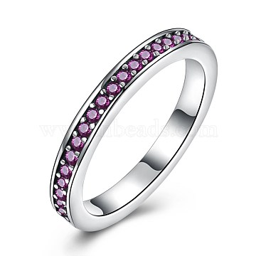 925 Thai Sterling Silver Finger Rings, with Cubic Zirconia, Carved with S925, Size 9, Medium Violet Red, Antique Silver, 18.9mm(RJEW-BB30793-C-9)