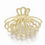 Alloy Claw Hair Clips, with ABS Plastic Imitation Pearl, Long-Lasting Plated, Shell with Cherry Shape, Light Gold, White, 36x50x28mm