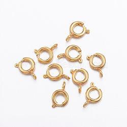 304 пружинные кольца из нержавеющей стали, золотой, 7.5x5x1.2 mm, отверстия: 1.5 mm(STAS-P163-16G)