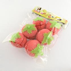 Ronde de fraise sphère éponge rouleau de cheveux bricolage, corail clair, 65x60 mm; 6 pcs / sac(OHAR-R095-48)