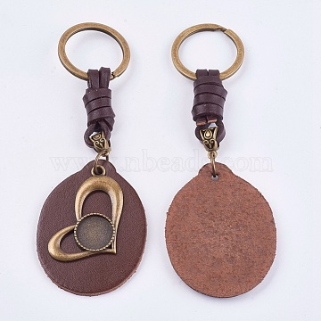 Alloy Cabochon Settings, Cadmium Free & Lead Free Keychain, with Cowhide Pendants and Iron Rings, Heart, Antique Bronze, Tray: 14mm; 120mm(KEYC-T003-01)
