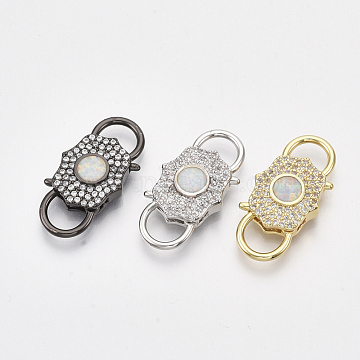 Brass Micro Pave Cubic Zirconia Clasps, Clear, Mixed Color, 26x13x4.5mm, Hole: 6.5x4mm(ZIRC-S061-134)