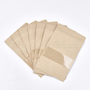 Resealable Kraft Paper Bags, Resealable Bags, Small Kraft Paper Stand up Bags, with Window, Navajo White, 20x12cm(OPP-S004-01B)