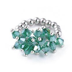 304 bagues élastiques en acier inoxydable, avec perle de verre galvanisée et goupilles en laiton, verte, taille 8, 18mm(RJEW-JR00261-06)