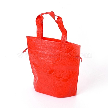 Eco-Friendly Reusable Bags, Non Woven Fabric Shopping Bags, Drawstring Bags, Red, 26.8x10x26.8cm(ABAG-L004-S02)
