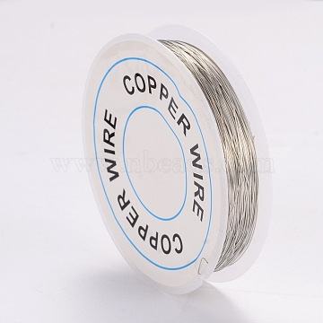 Copper Jewelry Wire, Silver, 0.3mm, about 65.61 Feet(20m)/roll(X-CWIR-CW0.3mm-06)