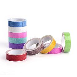 Cotton Ribbon, with Glitter Powder, and Adhesive Tape on the Other Side, Mixed Color, 5/8inch(15mm); about 2.18yards/roll(2m/roll), 10rolls/group(OCOR-T001-1.5cm-01)