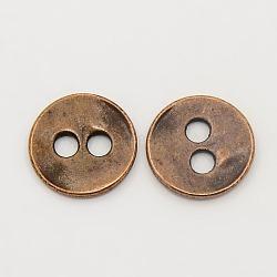 Кнопки сплава тибетский стиль, без свинца и без никеля , плоско-круглые, Красная медь, 13x2 мм, отверстие : 2.5 мм(X-TIBE-R178-R-FF)