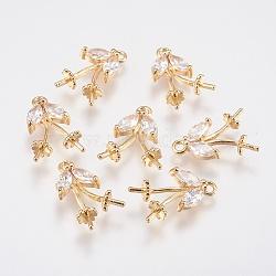 pendentifs en forme de zircon cubique en laiton, pour la moitié de perles percées, feuille, véritable plaqué or, 17x10x4.5 mm, trou: 1.5 mm; broches: 0.7 mm(KK-A144-064G)