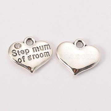 Wedding Theme Antique Silver Tone Tibetan Style Alloy Heart with Step Mum of Groom Rhinestone Charms, Cadmium Free & Lead Free, Crystal, 14x16x3mm, Hole: 2mm(X-TIBEP-N005-25C)