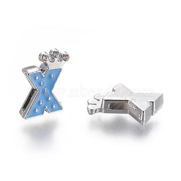 Alloy Enamel Rhinestone Slide Charms, Letter, Platinum Metal Color, Letter.X, Dodger Blue, 17x11x4mm, Hole: 1x8mm(X-ENAM-A126P-X02)