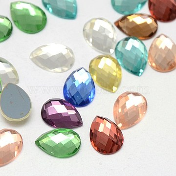 Faceted Glass teardrop, Cabochons, Flat Back & Back Plated, Mixed Color, 14x10x4mm(X-GGLA-F010A-M)