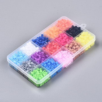 15 Colors Fuse Beads for Kids Crafts, DIY PE Melty Beads , Mixed Color, 5x5mm, about 100pcs/color, about 1500pcs/box(DIY-N002-015)