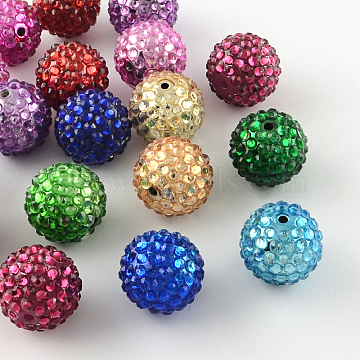 Transparent Resin Rhinestone Graduated Beads, with UV Plating Acrylic Round Beads Inside, Mixed Color, 12mm, Hole: 2~2.5mm(X-RESI-S314-10x12-M)