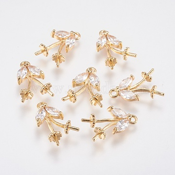 Brass Cubic Zirconia Peg Bails Pendants, For Half Drilled Beads, Leaf, Real 18K Gold Plated, 17x10x4.5mm, Hole: 1.5mm; Pin: 0.7mm(KK-A144-064G)
