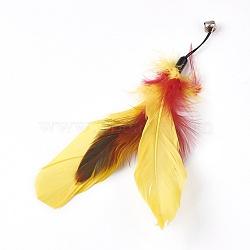 кот тизер замена перо с колокольчиком, кошачьей палки заменить голову, желтый, 17.5~20.7 cm(AJEW-TZ0007-05B)
