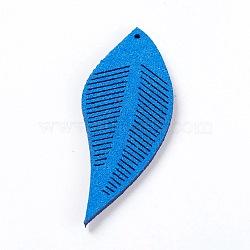 Искусственные замшевые украшения, лист, кубовые, 43~44x16~17x1.5 мм, отверстие : 1 мм(FIND-L006-A13)